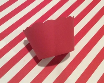 Red Cupcake Wrappers, Holiday Cupcake Wrappers, Solid Red Cupcake Wrappers