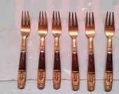 Vintage Fish Forks. Set of 6. 1970s. Fish. Vintage Oriental Cutlery. Handmade handle. Nickle Bronze. Cocktail. Pickle. Forks from Thailand.