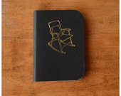 Pocket Size Notebook -  Mini leather Journal - Black Leather - Gold Rocking Chair - Field Note Notebook