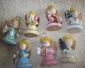 Set of 7 Angel Christmas Decorations Made in Jajpan