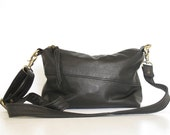 Small Black Leather Cross Body Bag : Everyday Slouchy Leather Festival Bag