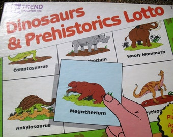 Vintage Game Dinosaurs and Prehistorics Lotto Picture Bingo Game