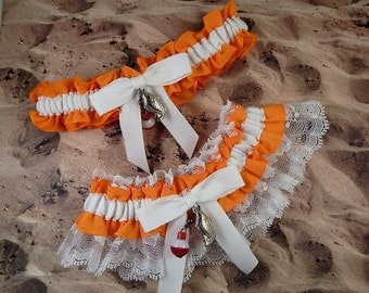 Fishing Orange LInen look White Twill white lace Fish Bobber Charm Wedding Bridal Garter Toss Set