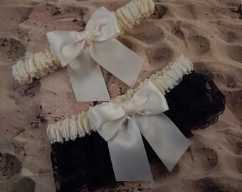 Wedding Bridal Garter Set Black Lace Ivory Satin Toss Garter Belt