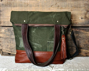 Canvas Tote messenger Unisex crossover handbag Upcycled bag Leather trim 6 Pockets- Ready -