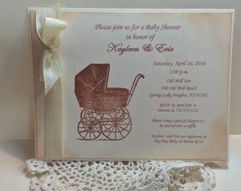 Baby Carriage Invitation..Baby Pram Shower Invitation..Baby Girl  Baby Boy ..Personalized