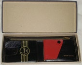 Mid Century Genuine Leather Bifold Wallet Snazzy Black and Red