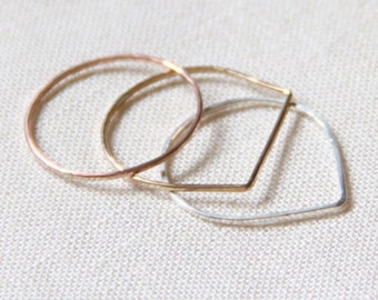 Set of Three SOLID 14k Rose Yellow or White Gold - Set of Modern Geometric Threads of Gold - Tiny Hammered Stacking Rings - Delicate Jewelry