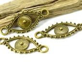 Bronze Evil Eye Charm, 15 pcs, 30mm,  Eye Connector, Jewelry Links - C710