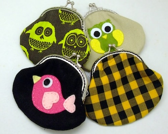 Big SALE - Set of 4 - Bridesmaid gift / Wedding gift / Christmas gift / Small clutch / Coin purse (G19)