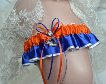 Boise State University Broncos Theme- Keepsake Wedding Garter  Bridal Keepsake Garter - NCAA Garter