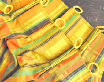 Vintage 1970s Curtain Set 2 Panels and Valance Retro Colors Yellow Orange and Green Plaid