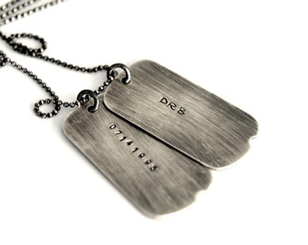 Mens Dog Tag Necklace, Military Style Dog Tags, Gift For Him, Hand Stamped Mens Jewelry, Personalized Mens Necklace
