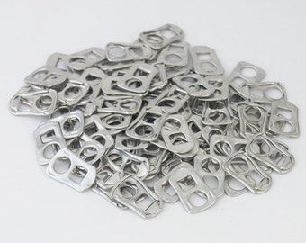100 square pop tabs shipped from Europe, square tabs, rectangle tabs, soda tabs, can tabs, ring pulls, pull tabs, soda can tabs