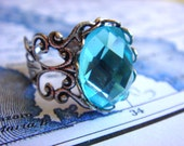 Eternal Beauty - Ring - Adjustable Silver Ring With A Faceted Glass Jewel - Handmade Jewelry by HoneyNest