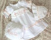 White Dedication Dress Baby and Older Girl Heirloom Look Monogrammed Sash Dress Juvie Moon Designs