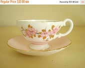 Crown Staffordshire bone china, pink cup & saucer, collectible flowered teacup set, high tea, tea party, 22 kt gold trim, collectible china