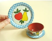 Vintage tin toy dishes, Apple & Pear blue gingham, vintage Ohio Art collection, 3 piece set, childs tin toy dishes, collectible litho art