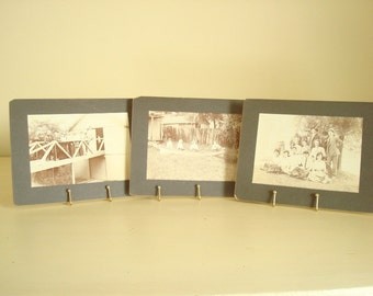 Set of 3 cabinet cards, vintage sepia photos, Art Deco era, instant collection, country bridge and boating, 1920s Midwestern Americana
