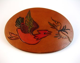 """Vintage large (4 1/2"""" by 3"""") leather hair barrette clip. Dyed leather. Bird chasing a butterfly. Hippie. Boho. Native American."""