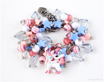 Sylveon Charm Bracelet, Pokemon Bracelet, Stainless Steel Chain Bracelet, Pokemon Jewelry, Pokemon Gifts, Fairy Kei Bracelet