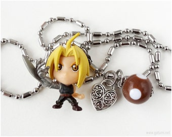 FMA Ed Charm Necklace, Stainless Steel Chain, Anime Figure, Kawaii Jewelry
