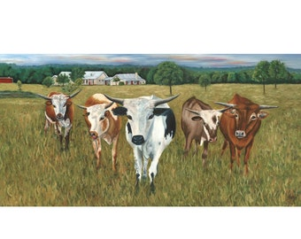 longhorns, Texas longhorns, cow, cattle, ranch, farm, giclee of original painting, print, Welcome Home Retreat, Weatherford, Helen Eaton