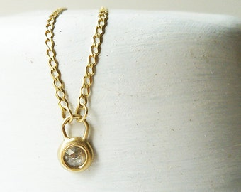 14 Karat Gold Necklace / Gray Diamond Necklace / Gray Diamond Charm / Gold Pendant / Gold Jewelry / Wide Necklace / Diamond Necklace