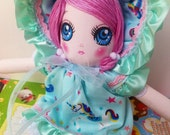 Sweet Blue Dress Kawaii Unicorn Bunka Doll