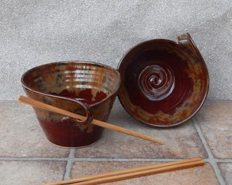 Pair of noodle or rice bowls handthrown stoneware pottery ceramic