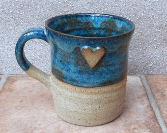 Coffee mug tea cup with a heart wheel thrown in stoneware ceramic pottery