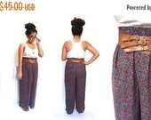 BTS SALE Vintage 90s Boho Chic Sheer Floral High Waisted Wide Leg Flare Pants women s-m