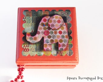 Polka dotted Elephant Keepsake Box - Jungle Elephant Lidded Wooden Box - Square Wooden Box