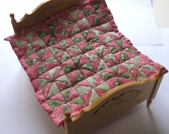 Dollhouse Miniature Patchwork Quilt in 12th Scale - Pink and Green Triangles