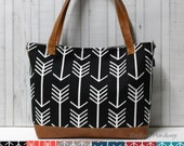 Design Your Own - Arrows with Faux Leather -Tote Bag /  Diaper Tote /  Medium Bag