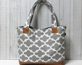 READY TO SHIP - Grey Fulton Quatrefoil with Faux Leather - Tote Bag /  Diaper Tote /  Medium Bag