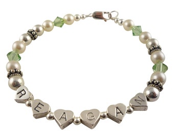 Bracelet For Mom with Child Children's Names - personalized sterling silver gift for Mother or Grandma Mother-in-law- crystals and pearls