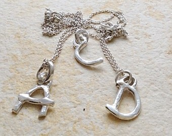 """Minimalist 925 Sterling Silver Initial on 19"""" Necklace"""