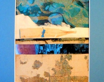"Original Mixed Media Collage with Mat 8"" x 10"" Ready to Frame Blue Black Cream Gold Gray"