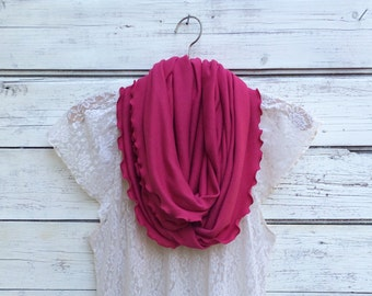 Raspberry Pink Infinity Scarf made of soft fabric and ruffled edges, Gift Idea for Easter and Mothers Day, Spring Scarf, Dark Pink Scarf
