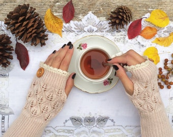 Fingerless Gloves, Knit Fingerless Gloves, Beige Fingerless Gloves, Half Finger Gloves, Winter Gloves, Mittens, Lace Gloves