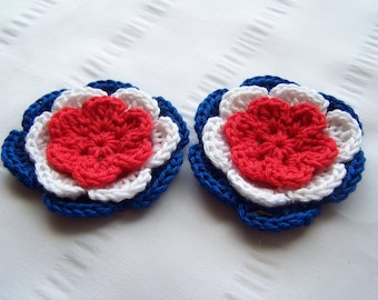Flower crochet motif 2.5 inch cotton red white blue