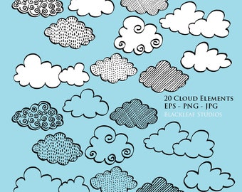 Hand Drawn Clouds Elements Silhouettes Clip Art Mega Bundle Pack Instant Download - clouds, rain clouds, graphics
