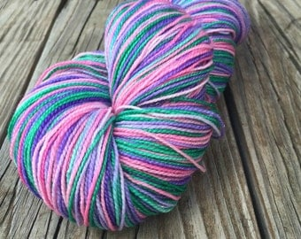 Pretty Lass Hand Dyed Sparkle Sock Weight Yarn hot pink purple violet emerald green 438 yards handdyed Superwash Merino Wool nylon