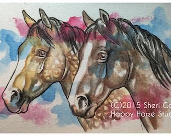 Original Watercolors and Ink Horse Art Painting