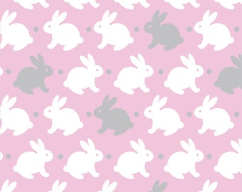 Cute Bunny Flannel Fabric Pink Gray and White Nursery Fabric Baby Fabric Girls Fabric - David Textiles by the yard