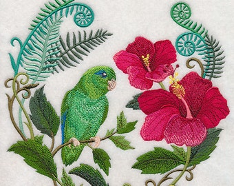 PARROLET WITH HIBISCUS - Machine Embroidery Quilt Block (AzEB)