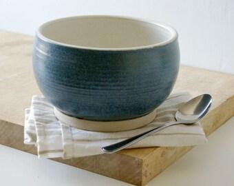 Handmade stoneware fruit bowl - wheel thrown bowl in vanilla cream and smokey blue