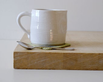 Cafe style pouring jug for milk - hand thrown in stoneware and glazed in brilliant white