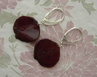 REAL Rose Petal Earrings - Dark Blood Red Rose Flower Petals - Sterling Silver Earrings